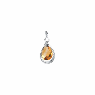 Exotic Citrine Briolette & Diamond Pendant