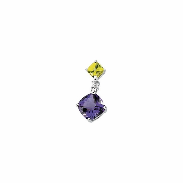 Exotic Diamond Pendant with Multicolored gems