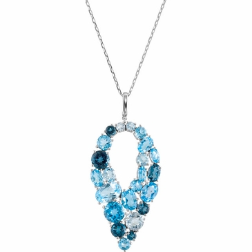Exotic Sky Blue Topaz, Swiss Blue Topaz & London Blue Topaz Necklace