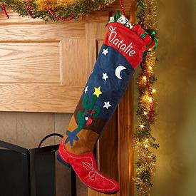 Extra-Large Cowboy Boot Christmas Stocking - Personalized