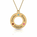 Family Circle Birthstone Necklace in Gold