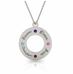 Family Circle Birthstone Necklace in Sterling Silver