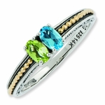Family Lineage Birthstone Two Tone Ring