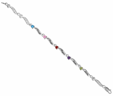 Family Love Birthstone Bracelet - Sterling Silver
