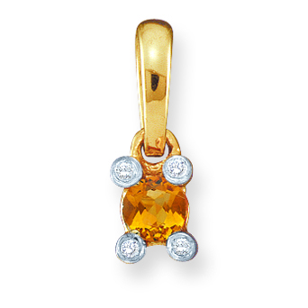 Family Togetherness Birthstone and Diamond Pendant - with Genuine Stones