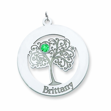 Family Tree Circle Birthstone Pendant - Personalized