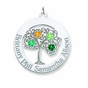 Family Tree Circle Birthstone Pendant - Personalized - click to Enlarge