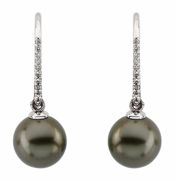 Fancy Diamond Earring with Tahitian Pearl