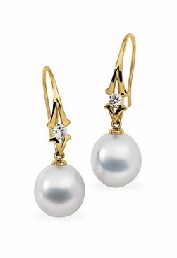 Fancy Diamond Earrings With South Sea Pearl