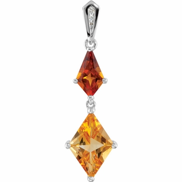 Fashionable Madeira Citrine and Diamond Charm Pendant
