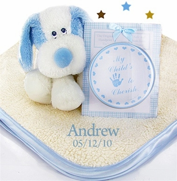 Fattamano Personalized Blanket Gift Set for Boy