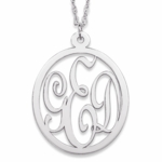 Feminine Script Traditional Monogram Necklace in Silver