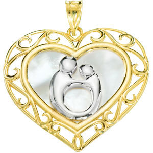 Filigree Heart Mother and Child Pendant