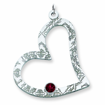 Floral Heart Birthstone Pendant Sterling Silver