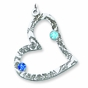 Floral Heart Birthstone Pendant Sterling Silver - click to Enlarge