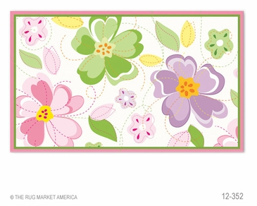 Flower Stitch Flannel Hook Rug