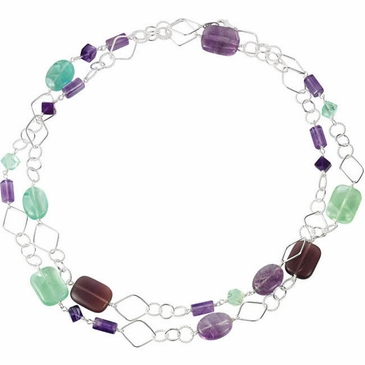 "Fluorite & Rose De France Quartz 42"" Sterling Silver Necklace"