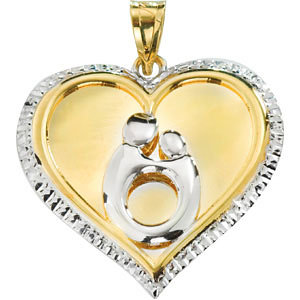 Framed Heart Mother and Child Pendant