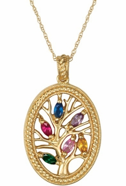 Framed Tree of Love Birthstone Necklace - with Genuine Stones