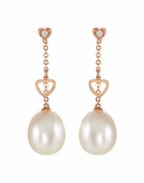 Freshwater 14K Rose Diamond and Cultured Pearl Earrings