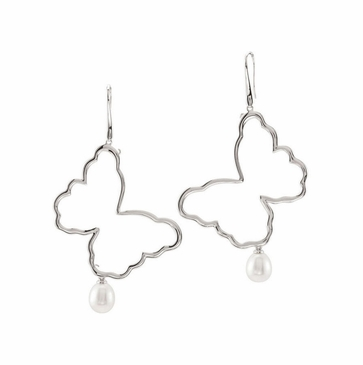 Freshwater Cultured Polished Butterfly Earrings