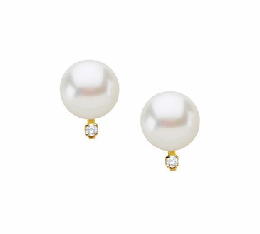 Freshwater Diamond and Pearl Earrings