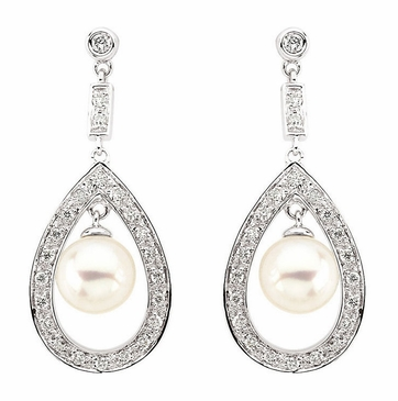 Freshwater Pearl and diamond Danglers