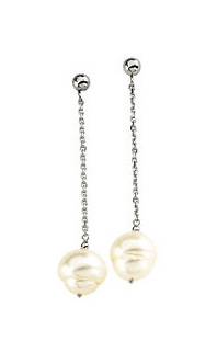 Freshwater Round Pearl Chain Danglers