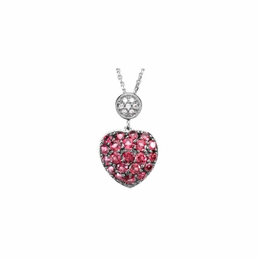 Garnet Heart Pendant with 14K white