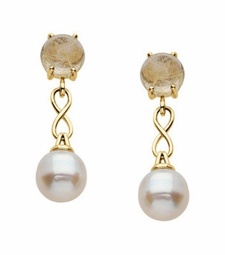 Genuine Rutilated Quartz with Real Pearl Earrings