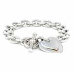 Girl Double Heart Tag Silver Bracelet