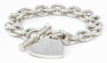 Girl Heart Tag Silver Bracelet