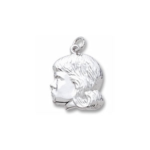 Girl Left Profile Charm by Forever Charms - Personalized