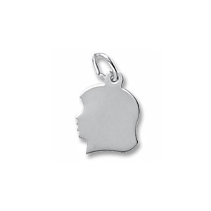 Girl's Head Silhouette Small Charm by Forever Charms - Personalized
