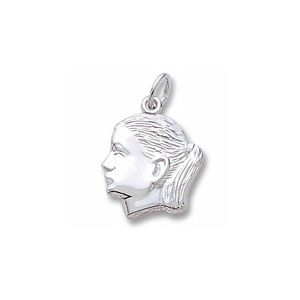 Girl with Ponytail Profile Charm by Forever Charms - Personalized