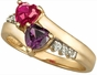 Gold Accented Double Heart Personalized Ring - with Genuine Stones - click to Enlarge