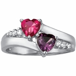 Gold Accented Double Heart Personalized Ring - with Simulated Stones