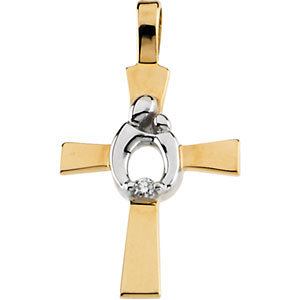 Gold and Diamond Mother and Child Cross Pendant