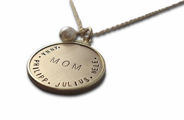 Gold Charm with Gold Frame MOM Family Necklace