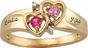 Gold Double Heart Engraved Ring - with Simulated Stones - click to Enlarge