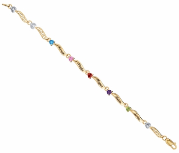 Gold Family Love Birthstone Bracelet