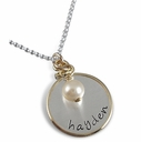 Gold Framed Sterling Silver Charm Necklace