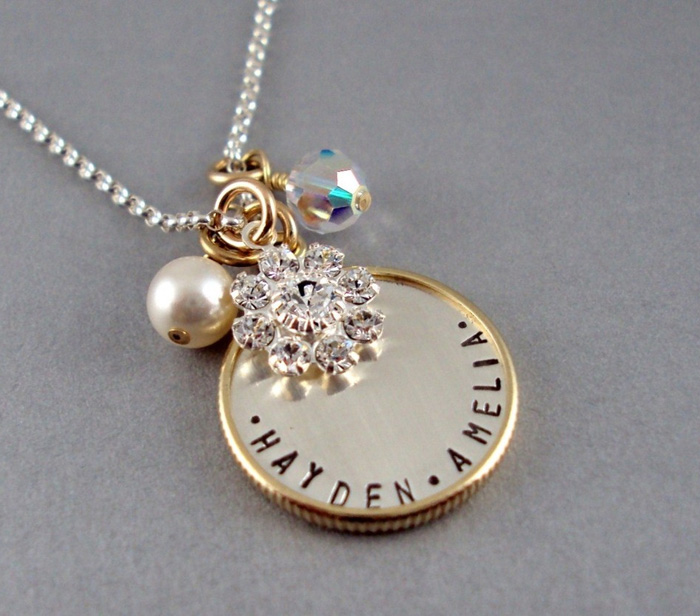 Gold framed sterling silver charm necklace bliss living aloadofball Image collections
