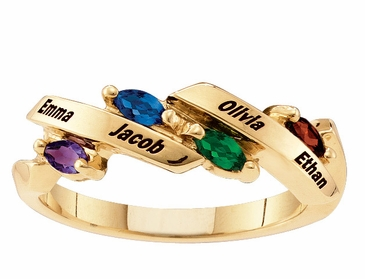 Gold Graceful Family  Birthstone Ring