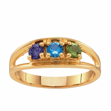 Gold Open Band Birthstone Ring
