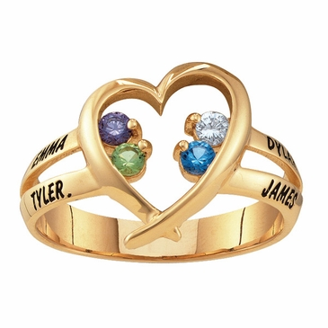 Gold Open Heart Birthstone Ring