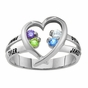 Gold Open Heart Birthstone Ring - click to Enlarge