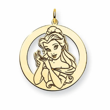 Gold-plated Disney Belle Silhouette Circle Charm