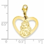 Gold-plated Disney Belle Silhouette Heart Charm - click to Enlarge