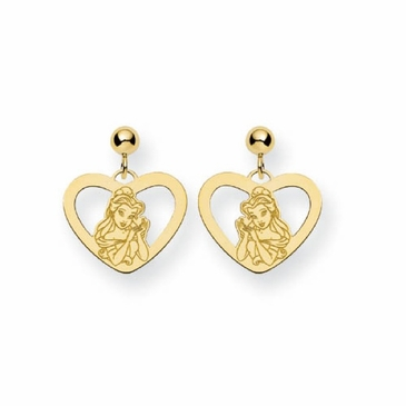 Gold-plated Disney Belle Silhouette Heart Post Dangle Earrings